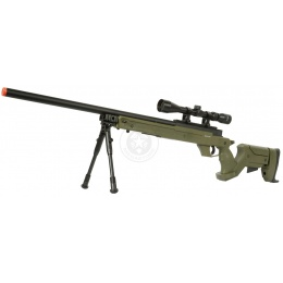 425 FPS WellFire SR22 Airsoft Sniper Rifle w/ Scope and Bipod - OD