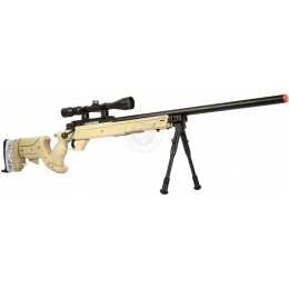 WellFire SR22 Bolt Action Type 22 Sniper Rifle w/ Scope & Bipod - TAN