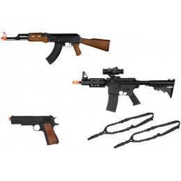 Signature Package: CYMA AK-47 + UK Arms M4 RIS + Well M1911 + 2X Slings