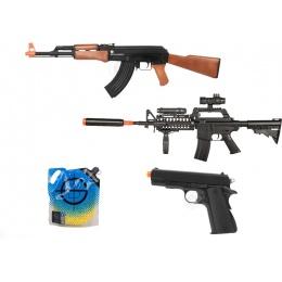Kalash AK47 Rifle & WellFire M4 RIS w/  M1911 Pistol & 5K 0.12g BBs