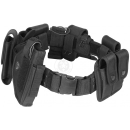 Tactical Utility Belt with Holster - Modular POLICE Duty Gear - BLACK