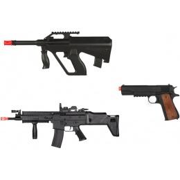 Airsoft Spring MK16 + DE AUG  + WellFire 1911 Pistol COMBO