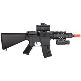 DE M4 CQB RIS Airsoft AEG Rifle w/ Flashlight + Red Dot Scope