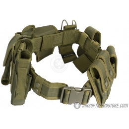 G-Force Police 1000D Utility Belt w/ Holster and Pouches - OD GREEN