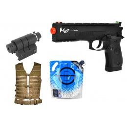 AMS Pistol Kit: WG M87 Archer Full Metal CO2 Gas Blowback Airsoft Pistol - BLACK