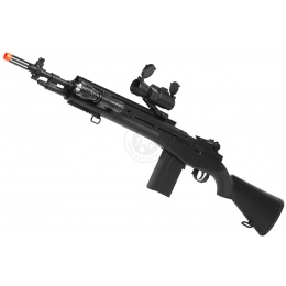 TSD M14 RIS Spring Sniper Rifle w/ Red Dot Scope & Flashlight - BLACK