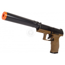 Umarex Licensed Airsoft Walther PPQ Spring Pistol w/ Suppressor - TAN
