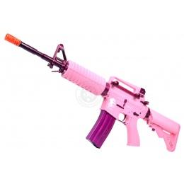 380 FPS G&G M4 Carbine Femme Fatale AEG Rifle w/ Crane Stock - PINK