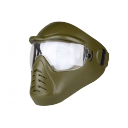 Hakkotsu Airsoft Alone Full Face Mask w/ Anti-Fog Clear Lens - OD