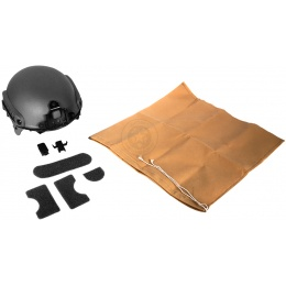G-Force Tactical IBH Airsoft Helmet w/ NVG Shroud & Side Rails - BLACK