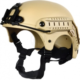 G-Force Tactical IBH Airsoft Helmet w/ NVG Shroud & Side Rails - TAN