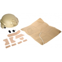 G-Force MICH 2000 Replica Helmet w/ Side Adapter Accessory Rails - TAN