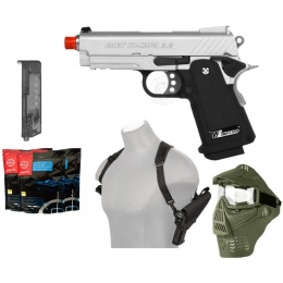 Gas Blowback Package: 340 FPS WE Baby Gas Blowback Pistol - SILVER