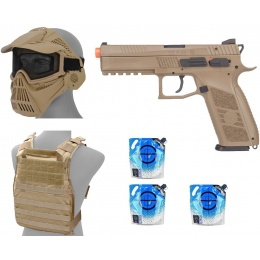 Gas Blowback Package: ASG Desert Warrior CZ P-09 GBB Airsoft Pistol