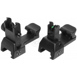 ASG Airsoft Low-Profile Fiber Optic Flip-Up Iron Sights Set