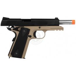 WE Desert Warrior 5.1 M1911 Airsoft Gas Blowback Pistol - BLACK / TAN
