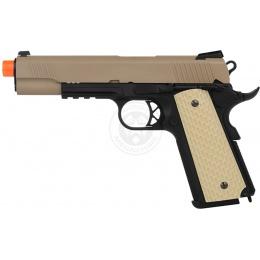 WE Desert Warrior 5.1 M1911 Airsoft Gas Blowback Pistol - TAN / BLACK