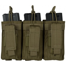 Condor Outdoor MOLLE Triple M4 / M16 Kangaroo Mag Pouch - OD GREEN