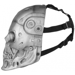 FMA Airsoft Wire Mesh Robot Skull Full Face Mask - SILVER